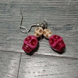 Jewelry - Pink & White Skull Howlite Stone Dangling Earrings